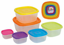 Set of 6 Clear Plastic Containers Square Food Storage Boxes with Coloured Lids