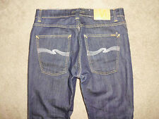 NUDIE Men's SLIM JIM 34 x 30 Ecru Embro RAW cotton blend Italy Supreme Jeans