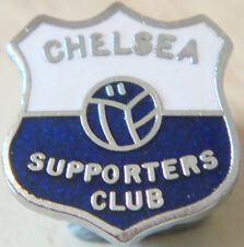 CHELSEA Vintage SUPPORTERS CLUB Badge Brooch Pin In chrome 15mm x 17mm