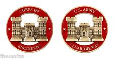 """ARMY CORPS OF ENGINEERS CLEAR THE WAY 1.75""""  MILITARY RED GOLD  CHALLENGE COIN"""