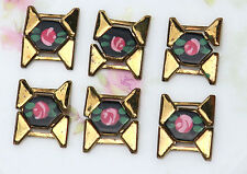 #956X Vintage Enamel Connectors Findings Flower Charms Roses Guilloche Links Bar