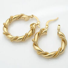 9ct Yellow Gold Plated Round Twist Hoop Creole Earrings - 30mm New 126