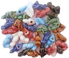 35 Peruvian 20 mm CERAMIC CLAY PARROT BEADS, 7 Colors