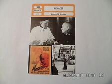 CARTE FICHE CINEMA 1939 MENACES Erich Von Stroheim Mireille Balin Jean Galland