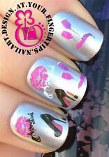 Nail Art transferencias de agua Stickers Calcomanías Set tacones altos Lápiz Labial Esmalte De Uñas 422
