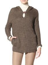 Acrobat Women's Bison Long Hooded Elegant Brown Pullover Sweater w Pockets, S/ M