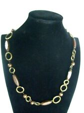 "1960-70s VINTAGE COPPER HOOP RINGS & WOODEN BEADS TYPE 26"" NECKLACE.V.G.C."