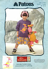 ~ Knitting Pattern For Child's Dinosaur Sweater & Toy ~
