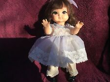 Vintage Royal Joy Doll in Baby Blue Chiffon Dress,Bloomers&Patent Leather Shoes!