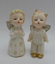 Vintage 1950's Wales Japan Angel Figurines Boy & Girl Porcelain Mesh Wings