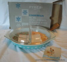 NIB 50's Vintage Pyrex Turquoise Blue Snowflake Divided Oval Casserole Dish 963
