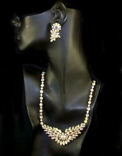 SHERMAN Aurora Borealis Crystals Necklace and Earrings Set