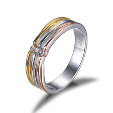 Classic 0.12ct Two-color Wedding Ring Band Solid 925 Sterling Silver Size 8