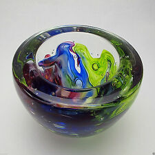 "Vtg Signed Art Glass Bowl Multi Colors Swirling Design & Bubbles 1"" Thick Sides"