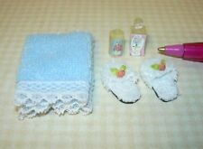 Miniature Bath Set w/BLUE Towel, Slippers, Lotion: DOLLHOUSE Miniatures 1/12