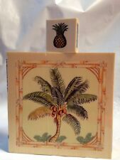 Sugarloaf Pineapple Coconut Palm Tree with Bamboo Sugar Cane Border Rubber Stamp