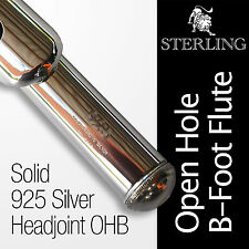 SOLID 925 Silver Headjoint Flute • STERLING Open Hole B • Case • BRAND NEW •