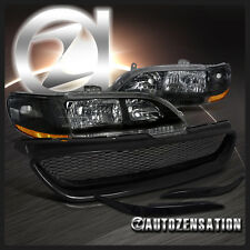 Fit 98-02 Honda Accord 2DR Coupe Black Headlights+ABS Eyelids+Mesh Hood Grille