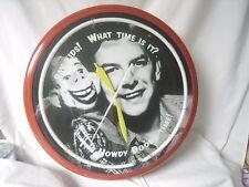 """HOWDY DOODY BUFFALO BOB Neon Aluminum 20"""" Wall Clock Made USA"""