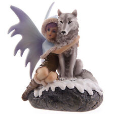 Snow Fairy Figurine with Wolf Companion - Mystic Realms collection. New in Box
