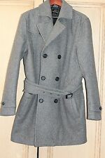TOPMAN Double-Breasted Trench Coat Peacoat Jacket Wool Blend - Gray Large NEW