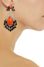 KENNETH JAY LANE GOLD-PLATED CRYSTAL EARRINGS IN RED COLOUR(TOMATO-RED)
