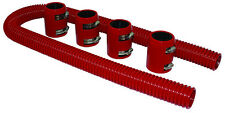 "48"" Red Stainless Flexible Radiator Hose Kit W/ Billet Clamp Covers Chevy Ford"