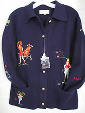 Andreno Argenti Golf Sweater Blue Button Collared Small Vintage Womens