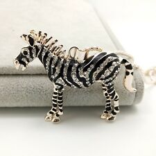 Fashion gold crystal mosaic zebra pendant Long necklace Sweater chain DL175