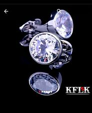 Sparkling MEN`s Vintage Cufflinks Round white CZ Crystal White Gold Plated