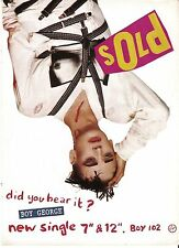 BOY GEORGE (Culture Club) Sold (punk) UK magazine ADVERT / Poster 11x8 inches