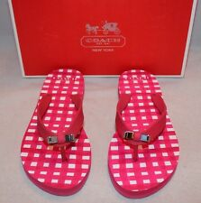 Coach Amel Painted Gingham Poppy Pink Thong Flip Flops Sandals -  Q4113 - Size 5