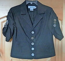 Short Sleeved Lined BRODERIE ANGLAISE Cotton Black JACKET by Dizzy Lizzie-Size S