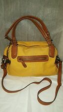 BORN CROWN LARGE SUNFLOWER CANVAS W/BROWN LEATHER TRIM SHOULDER BAG/TOTE/SATCHEL