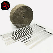 "2"" 50Ft Motorbike Car Exhaust Heat Wrap Protection Roll Header Tape +23 Ties Kit"