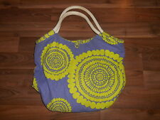 Boden Large Canvas Cotton Purple Green Tote Shopper Handbag Purse VGUC Beach Bag