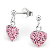 Childrens Kids Girls 925 Silver Little Heart Ear Studs with Crystal-Gift Boxed