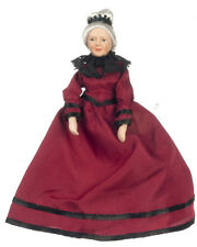 Dollhouse Miniature Doll Grandma Grandmother Burgundy  Porcelain   1:12 Scale