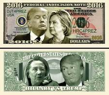 Hillary vs Trump ~ Federal Indecision Note 2016 Dollars Funny Money Novelty Bill