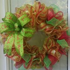 SALE CHRISTMAS HOLIDAY MERRY CHRISTMAS BOW WREATH DECO MESH RIBBON *1 LEFT *