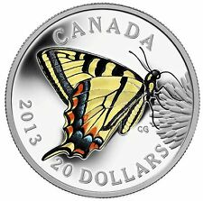2013 $20 Canadian Tiger Swallowtail Butterfly Proof Silver Coin