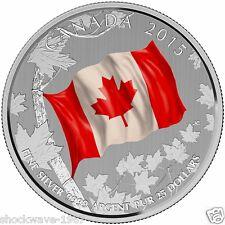2015 Silver 3 X $25 Canada Flag Colored 3 Coin Lot & No Tax