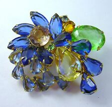 JULIANA D&E DeLizza Elster Multi Color Large Rhinestone Pin/Brooch FREE SHIP!