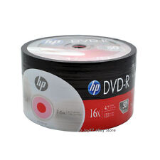 50 Pack HP Brand Logo Blank 16x DVD-R DVDR Recordable Disc Media Shrink Wrap