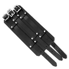 NEW BLACK 3 BUCKLE STRAP WIDE LEATHER BRACELET PUNK ROCK REBEL GOTH CUFF GBD-005