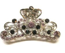 Silvertone Metal Purple & Pink Rhinestone Hair Claw Clip