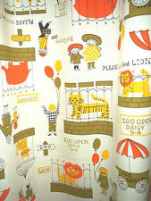 Vtg retro zoo animals curtains drapes cotton fabric panels childrens novelty!