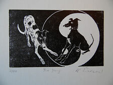 Woodcut Engraving Playing Dogs, Greyhounds Signed LE by Hazel Theobald