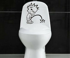 Bathroom Art Boy peeing Toilet Funny Wall Sticker Decal Mural Removable