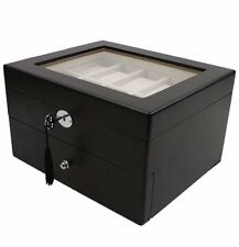 SALE Watch Box for 20 Watches Black Finish Glass Window